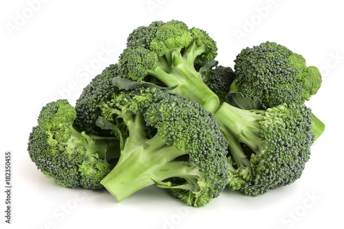 fresh broccoli isolated on white background close-up. Top view Canvas Print
