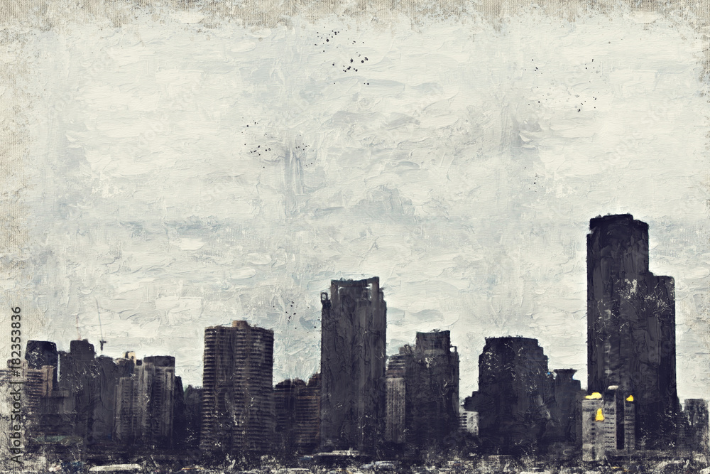Abstract Building in capital on oil  watercolor painting background. City on Digital illustration brush to art