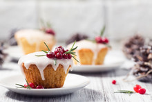 Christmas Mini Cake With Sugar Icing, Cranberries And Rosemary