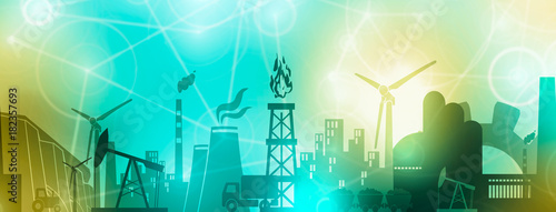 Obraz Energy and Power icons set. Header or footer banner. Sustainable energy generation and heavy industry. Softly blurred backdrop. - fototapety do salonu