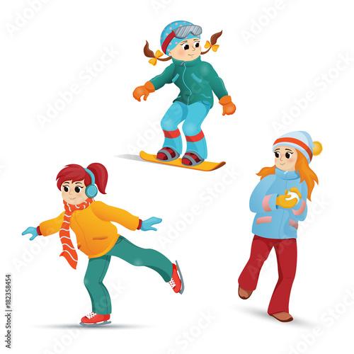 7d1264730ae2 Girls having fun in winter - ice skating