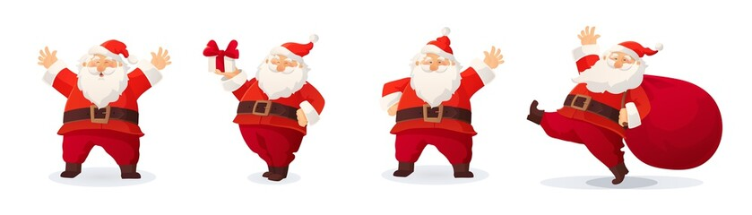 Set of cartoon Christmas illustrations isolated on white. Funny happy Santa Claus character with gift, bag with presents, waving and greeting.