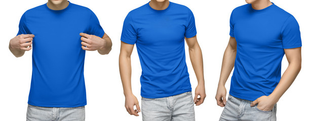 Young male in blank blue t-shirt, front and back view, isolated white background with clipping path. Design men tshirt template and mockup for print