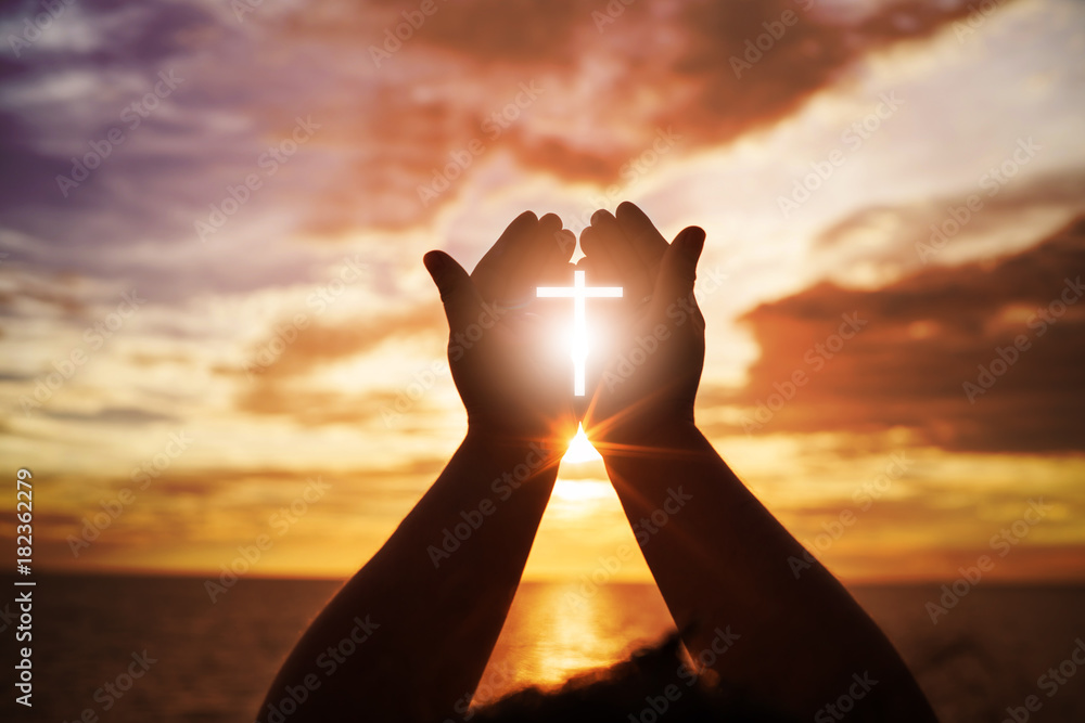 Fototapeta Human hands open palm up worship. Eucharist Therapy Bless God Helping Repent Catholic Easter Lent Mind Pray. Christian Religion concept background. fighting and victory for god