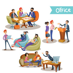 Set of vector illustrations of a businessman with his subordinates, partners holding talks for the podium, at the table and sitting on the couch, isolated on white background in cartoon style.