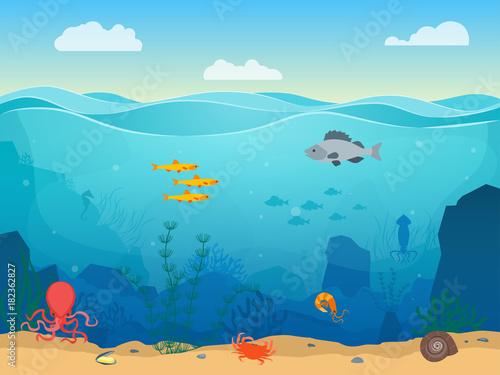 Foto op Plexiglas Blauw Cartoon Sea Underwater Scene Color Background. Vector