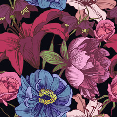 FototapetaVector floral seamless pattern with peonies, lilies, roses in vintage style