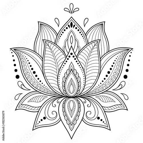 Henna Tattoo Flower Template In Indian Style: Henna Tattoo Flower Template In Indian Style. Ethnic
