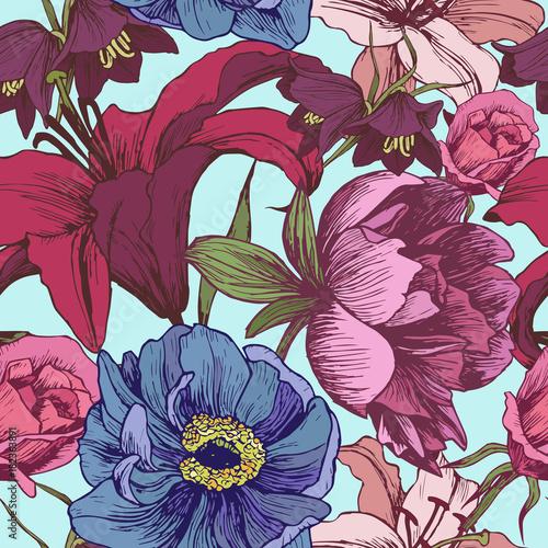 Naklejki na meble z ekspresyjnym wzorem kolorowych kwiatów