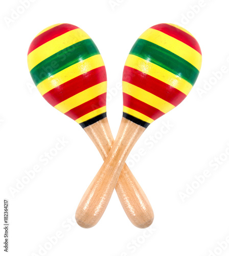 maracas music instrument isolated on white background colorful