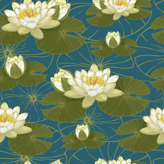 Fototapeta Vintage Vector floral seamless pattern with white water lilies