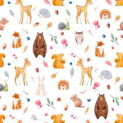 Fototapeta Watercolor baby pattern