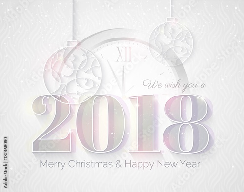 2018 White Sparkling Background Happy New Year Greeting Card With
