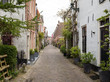 Historic old town of Alkmaar, North Holland, Netherlands, typical canal houses