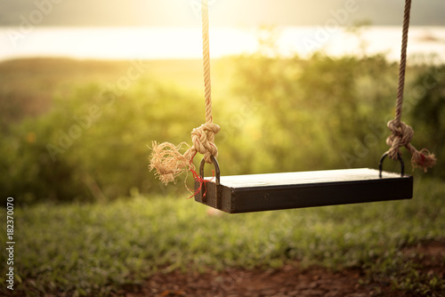 Fotografie, Obraz  Children swing in the park (vintage tone)