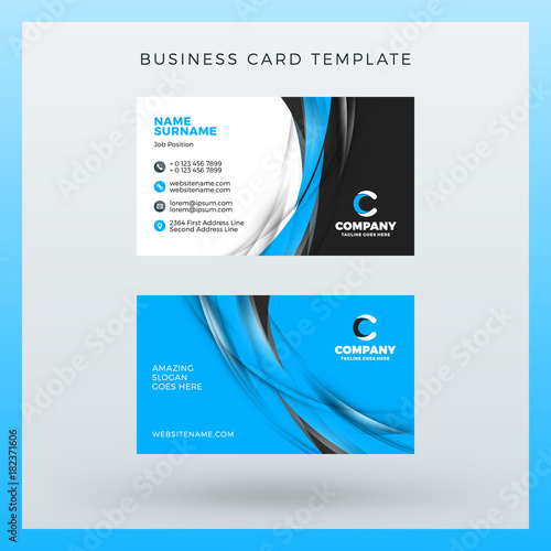 Doublesided Horizontal Business Card Template With Abstract - Horizontal business card template