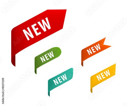 Fototapeta New tag ribbon and banner vector. obraz