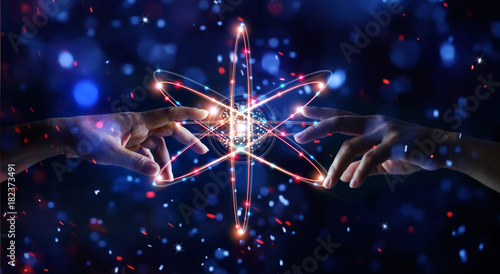 Hands touching network connection in science and data exchanges on glitter bright lights colorful  background