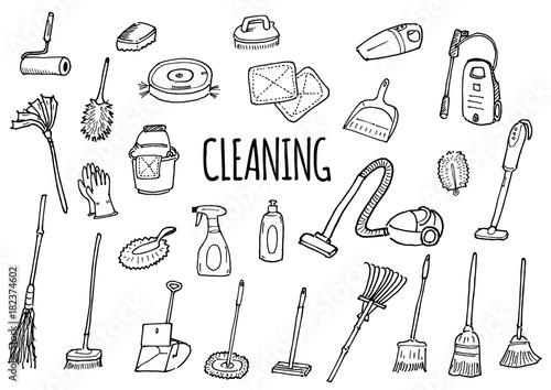 掃除道具のイラストセット Fototapet