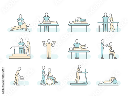 Fotografia  Massage therapy spa physiotherapy vector line medical icons