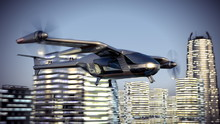 Flying Taxy Drone Going Throug...