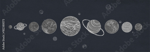 Horizontal banner with planets of Solar system arranged in row against dark background Canvas Print