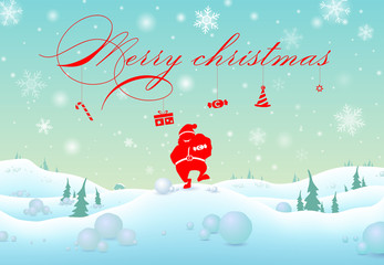 illustration backdrop,text silhouette santa claus with reindeer,candy and gift  for decorative merry christmas and celebration countdown to new year festival holiday in december every year