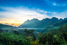 Chiang Dao Mountain In The Morning Popular Tourist Attractions. In Chiang Mai, Thailand
