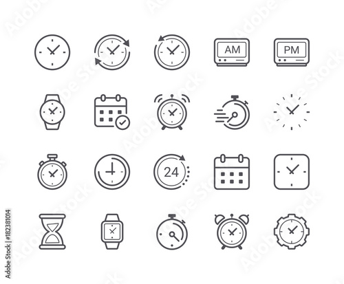 Fototapety, obrazy: Minimal Set of Time and Clock Line Icons