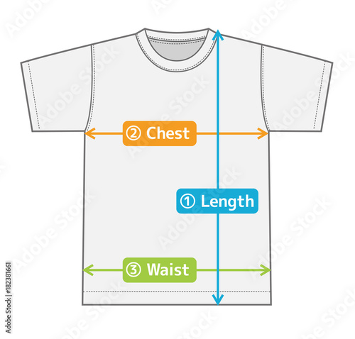 Fotomural t-shirt illustration for size chart (english) / color version