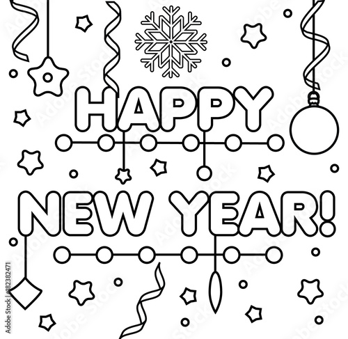 photo relating to Printable New Year Cards named Coloring website page with satisfied Fresh Yr words and phrases. Drawing small children match
