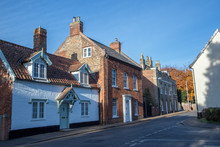 Old Town Houses In Typical English Village Street. Wymondham UK.