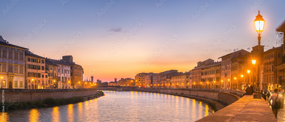 Fototapety, obrazy: Sunset Panorama in Pisa, Italy