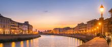 Sunset Panorama In Pisa, Italy