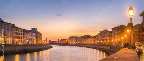Sunset Panorama in Pisa, Italy Canvas Print