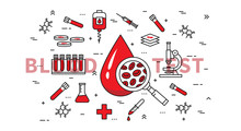Blood Test Vector Illustration. Medical (healthcare) Blood And Plasma Research (analysis) And Examination Line Art Concept. Blood Drop And Medical Equipment Graphic Design.