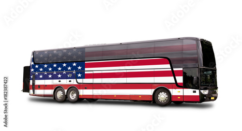 Black Travel  bus with the american flag on side