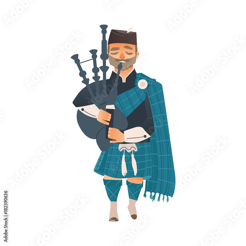 Photo vector cartoon scotland man bagpiper in national traditional clothing holding scottish musical instrument bagpipe