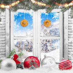 Fototapeta Boże Narodzenie/Nowy Rok Christmas old white window with decorations.