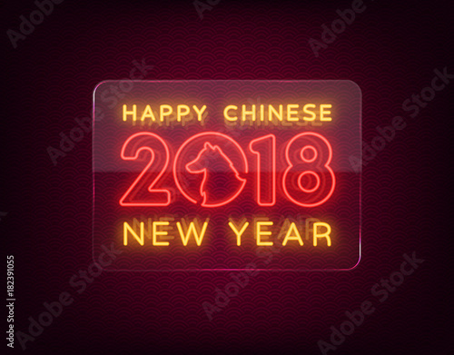 happy chinese new year 2018 sign in neon style night post advertising