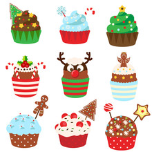 Christmas Cupcakes. Sweet Bakery. New Year Food. Vetor Icons