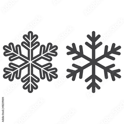 snowflake line and glyph icon new year and christmas snow sign vector graphics