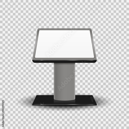 Photo Realistic 3d Interactive Information Kiosk Terminal Stand Screen Display Console Infokiosk isolated on transparent background