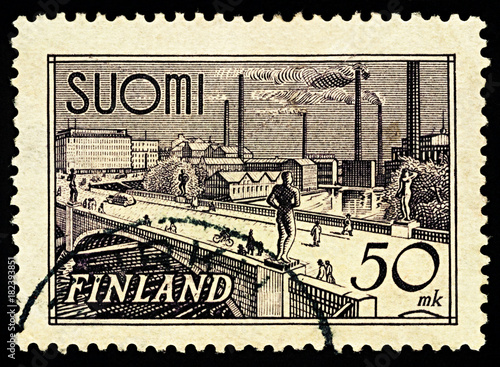 Poster  Tampere Bridge on postage stamp