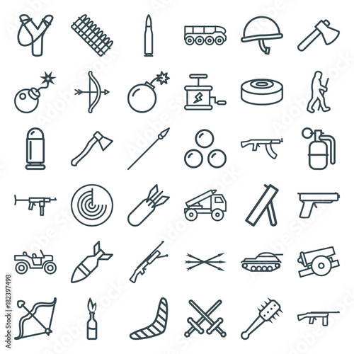 Set of 36 weapon outline icons Wallpaper Mural