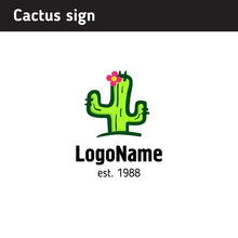 Simple Hand-drawn Sign, Green Cactus