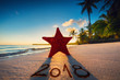 Starfish on the beach with palm trees at sunrise. Happy new year 2018 concept.