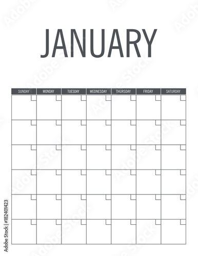 january calendar page layout no dates can be used every year