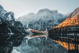 Fototapeta Fototapety z naturą - Boats on the Braies Lake ( Pragser Wildsee ) in Dolomites mountains, Sudtirol, Italy