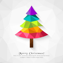 Abstract Christmas Tree Made In Low Poly Design. Colorful Polygon As Unique Decoration Element.